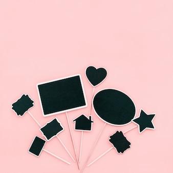 Chalk board frames couple objects party invitation