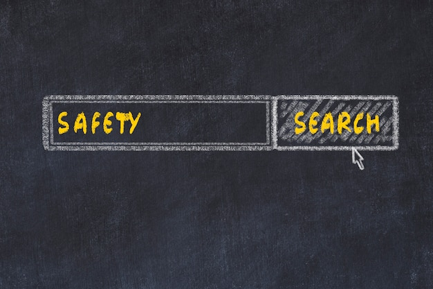 Chalk board sketch of search engine. concept of looking for safety