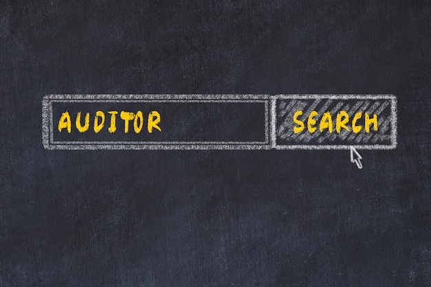 Chalk board sketch of search engine. concept of searching for auditor