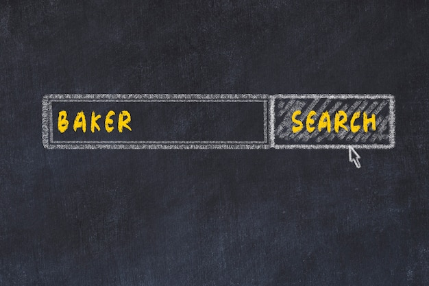 Chalk board sketch of search engine. concept of searching for baker
