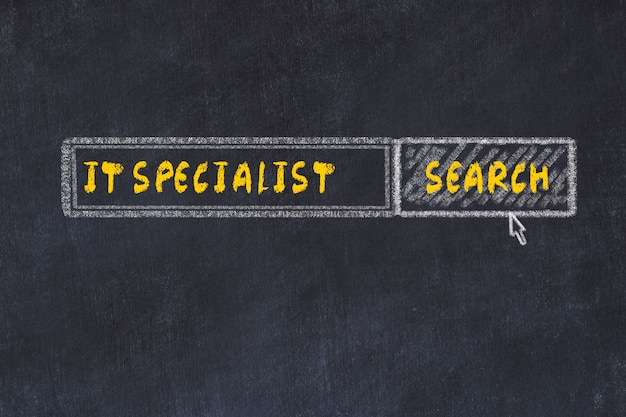 Chalk board sketch of search engine. concept of searching for it specialist