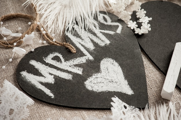 Chalk board tag with heart