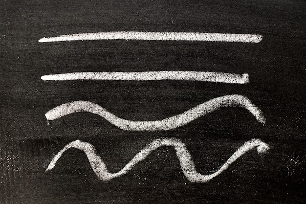 Chalk drawing as straight and curvy lines