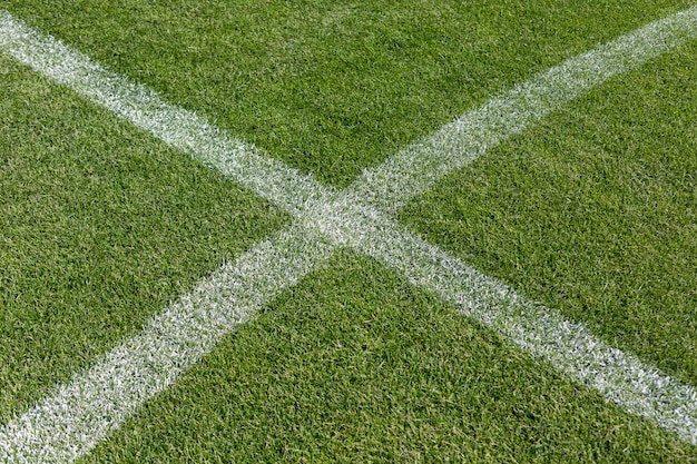 Chalk marking on the football soccer field