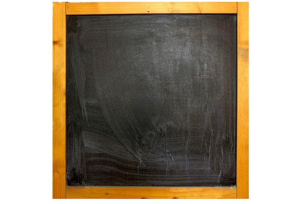 Chalk rubbed out on blackboard in wooden frame