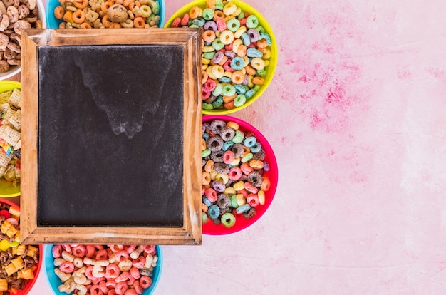 Chalkboard on bright bowls of cereals