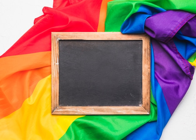 Chalkboard and crumpled lgbt flag