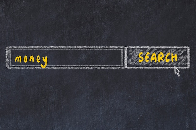 Chalkboard drawing of search browser window and inscription money
