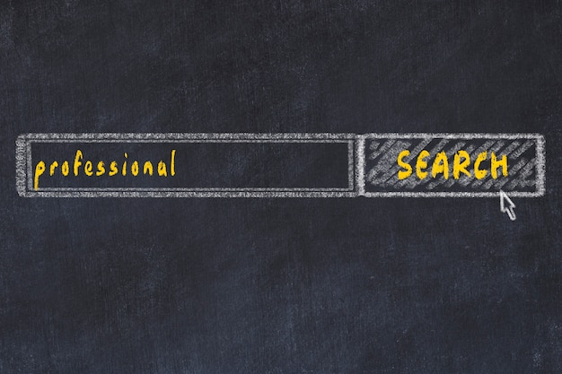Chalkboard drawing of search browser window and inscription professional