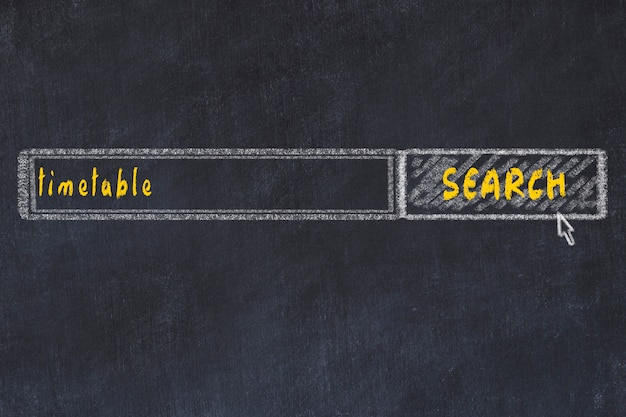 Chalkboard drawing of search browser window and inscription timetable