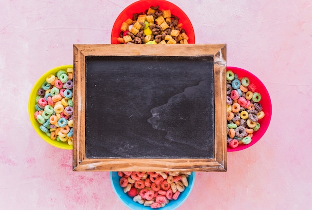 Chalkboard on four bowls of cereals