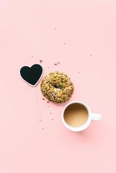 Chalkboard frame heart bun cereals healthy eating