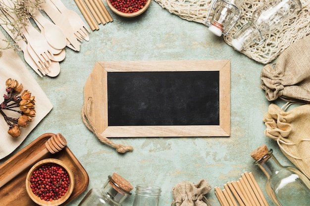 Chalkboard mock-up with environment friendly objects