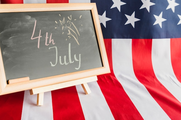 Chalkboard with 4th of july sign