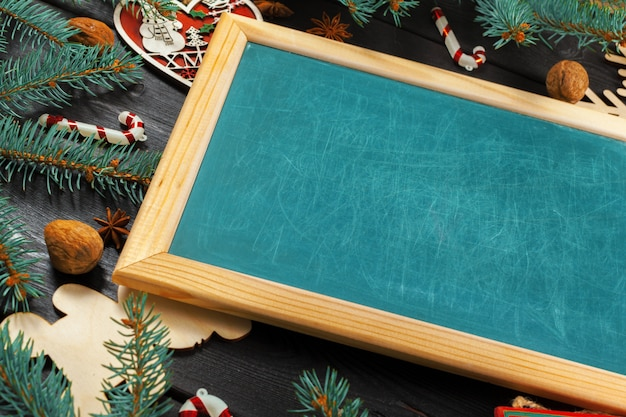 Chalkboard with christmas decoration