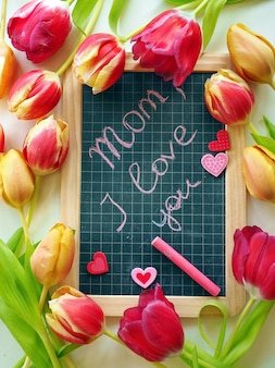 Chalkboard with greetings on mother's day