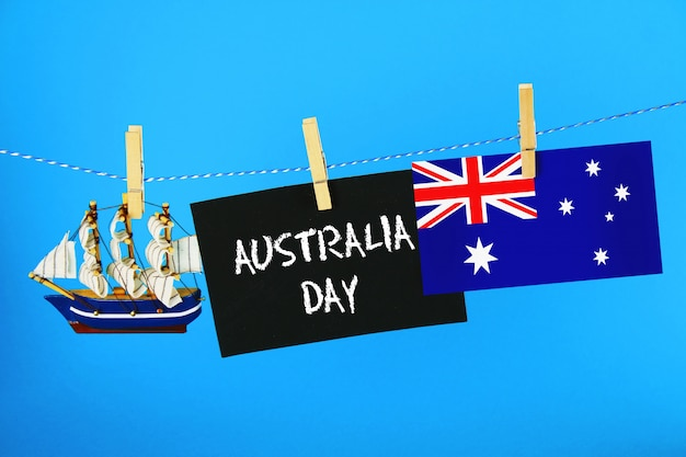 Chalkboard with the inscription: happy day of australia