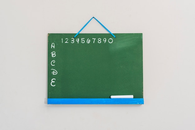 Chalkboard with letters and numbers