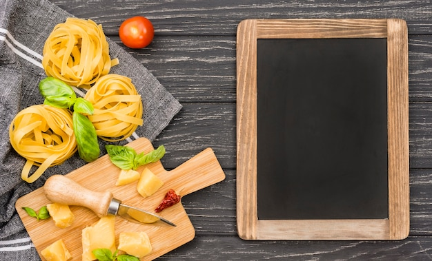 Chalkboard with noodles ingredients