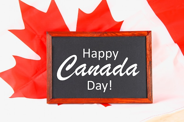 Chalkboard with the word happy canada day on the national flag. feast of 1 july.