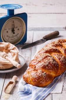 Challah bread with sesame seeds.