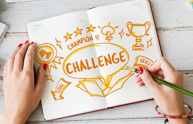 Challenge goal target trial skill test trophy concept