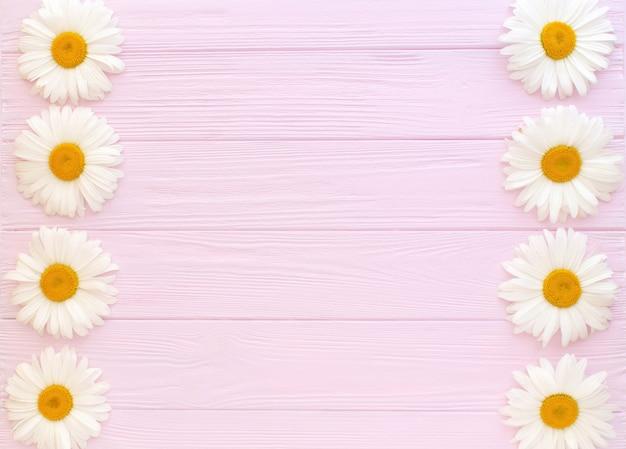 ピンクの木の背景にカモミールの組成物