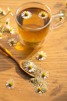 カモミールの花とカモミールティー