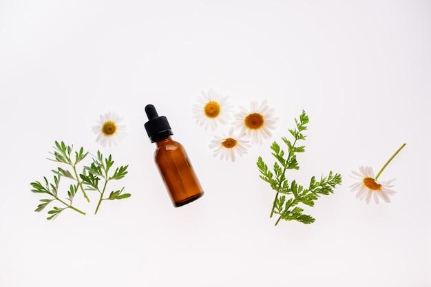 カモミールの花と白い背景、自然化粧品や代替医療の上面概念のエッセンシャルオイルの化粧品ボトル