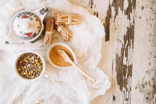 Chamomile tea and brown sugar