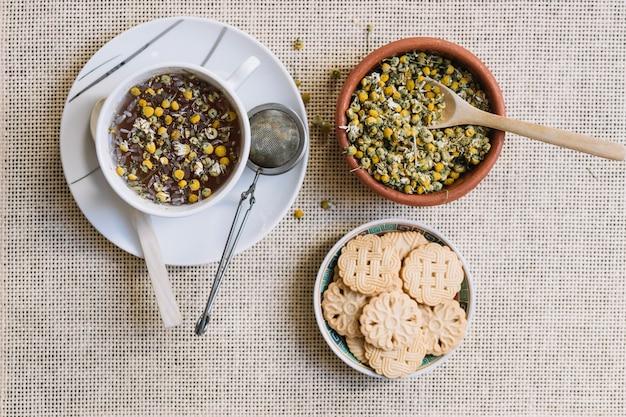 Chamomile tea and cookies