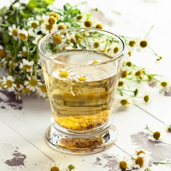 Chamomile tea cup arrangement