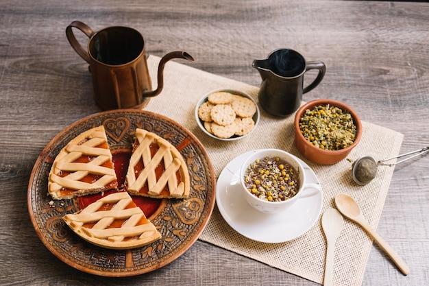 Chamomile tea and desserts