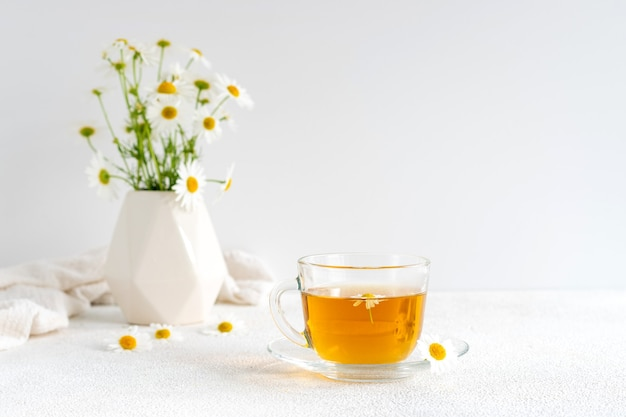 Chamomile tea in a transparent mug with natural small chamomile flowers