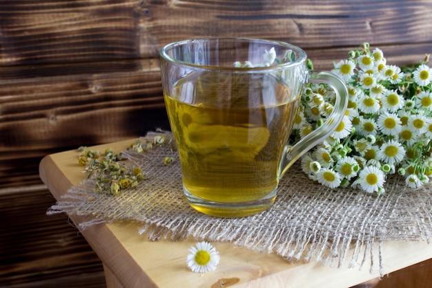 Ромашковый чай с цветками ромашки