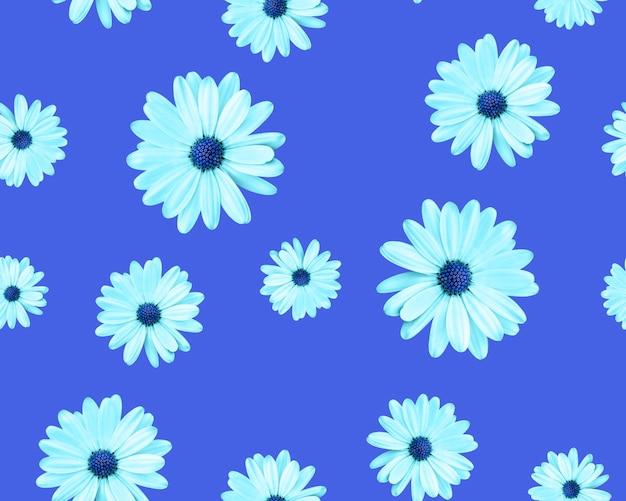 青い背景に青い中心を持つカモミール美しいシームレスパターン