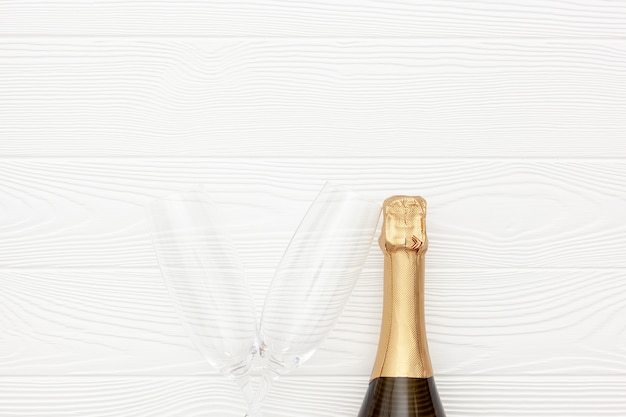 Champagne as new year symbol on white