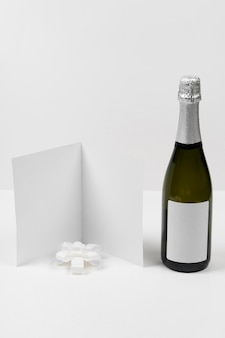 Champagne bottle and empty card