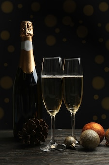 Champagne bottle and glasses, and baubles
