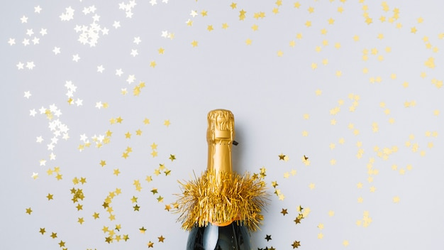 Champagne bottle with star spangles