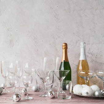 Champagne bottles with glasses on the table