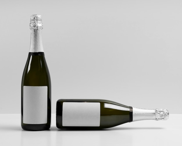 Champagne bottles with white background