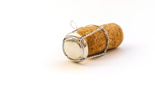 Champagne cork on a white background. the concept of celebration and fun. new year's background.