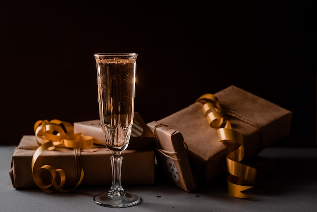 Champagne glass presents decorations background