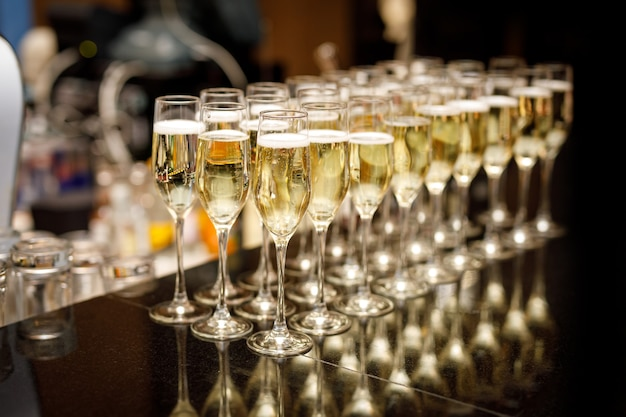 Champagne glasses at an event.