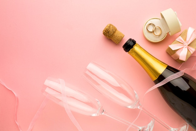 Champagne and glasses wedding concept