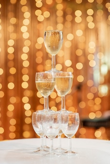 Champagne glasses in wedding decorations
