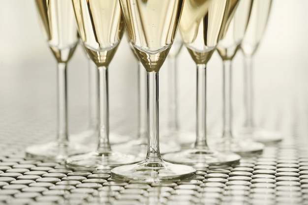 Champagne glasses with champagne