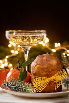 Champagne and panettone italian dessert