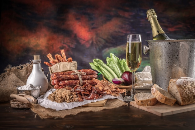 Champagne with delicious pieces of sliced ham,